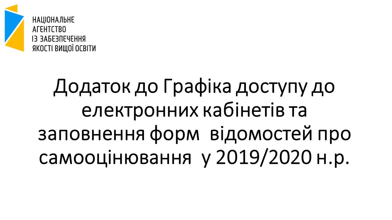 Додаток до Графіка доступу до електронних кабінетів та заповнення форм  відомостей про самооцінювання  у 2019/2020 н.р.